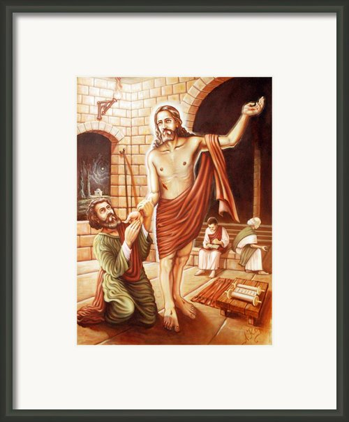 St.thomas Finds Jesus After Resurrection Framed Print By Anup Roy
