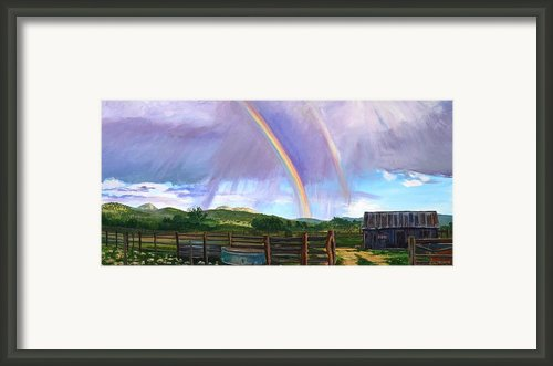 Summer Rain At The Ranch Framed Print By Rita Lackey