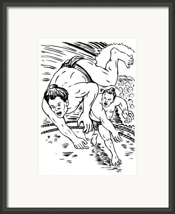 Sumo Wrestlers Framed Print By Aloysius Patrimonio