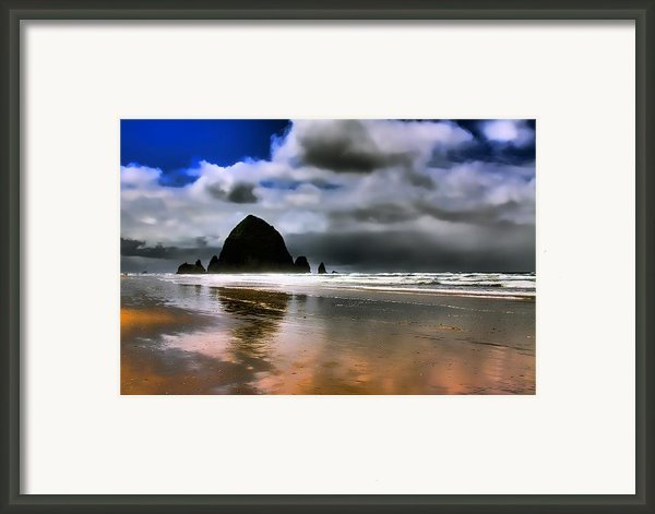 Sun Shining On Haystack Rock Framed Print By David Patterson