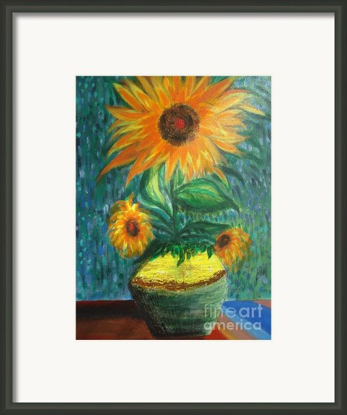 Sunflower In A Vase Framed Print By Prasenjit Dhar