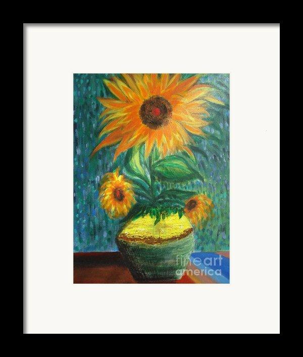 Sunflower In A Vase Framed Print By Prasenjit Dhar