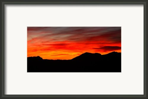 Sunrise Against Mountain Skyline Framed Print By Max Allen