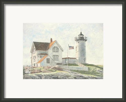 Sunrise At Nubble Light Framed Print By Dominic White