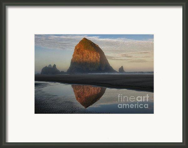 Sunrise On Haystack Rock - Oregon Framed Print By Sandra Bronstein