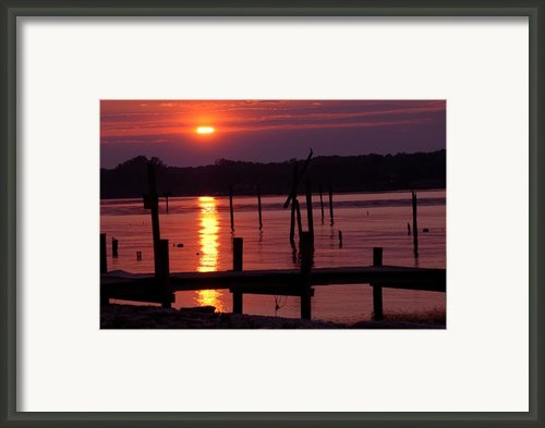 Sunset At Colonial Beach Framed Print By Clayton Bruster