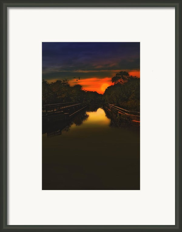 Sunset At The Old Canal Framed Print By Tom York