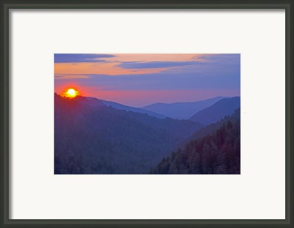 Sunset In Great Smoky Mountain National Park Tennessee Framed Print By Brendan Reals