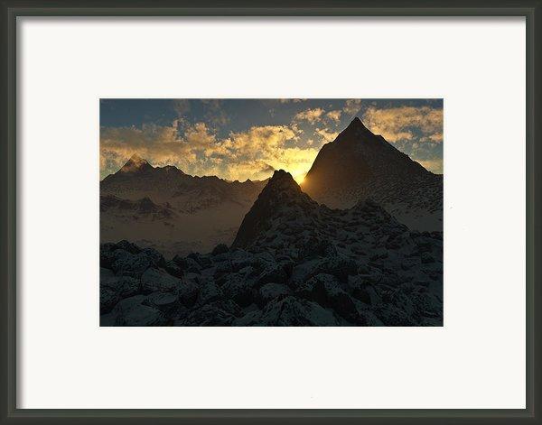 Sunset In The Stony Mountains Framed Print By Hakon Soreide