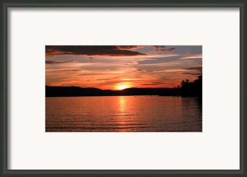 Sunset-lake Waukewan 1 Framed Print By Michael Mooney