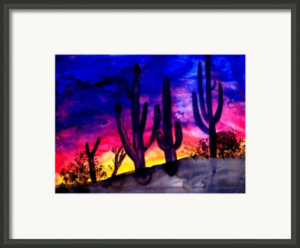 Sunset On Cactus Framed Print By Mike Grubb