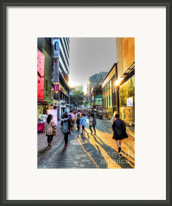 Sunset On The Streets Of Seoul Framed Print By Michael Garyet