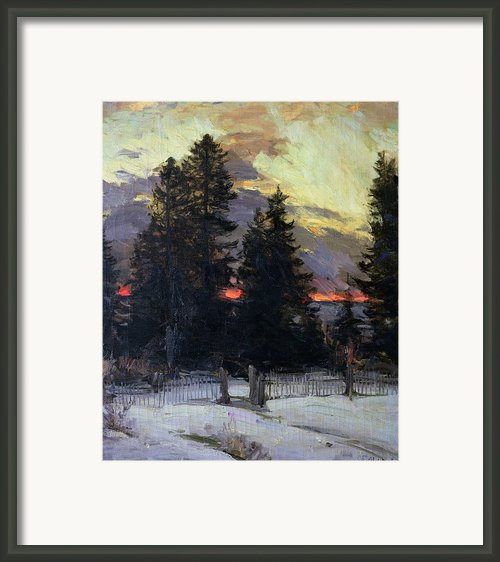 Sunset Over A Winter Landscape Framed Print By Abram Efimovich Arkhipov