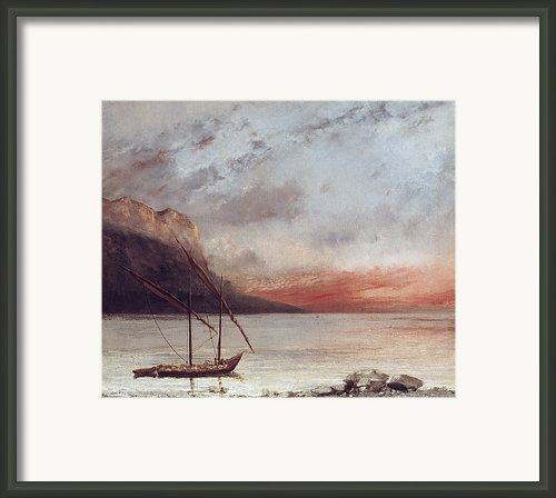 Sunset Over Lake Leman Framed Print By Gustave Courbet