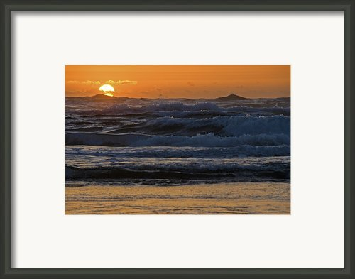 Sunset Over Lines Of Breaking Waves Framed Print By Stephen Sharnoff