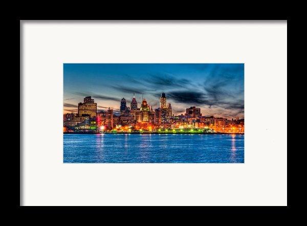 Sunset Over Philadelphia Framed Print By Louis Dallara