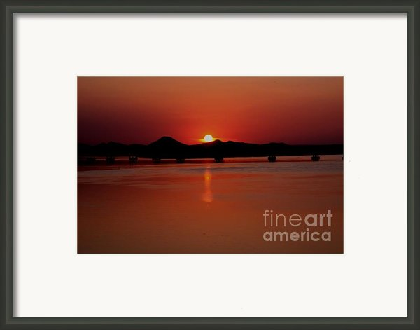 Sunset Over The Big Dam Bridge Framed Print By Joe Finney