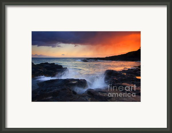 Sunset Storm Passing Framed Print By Mike  Dawson