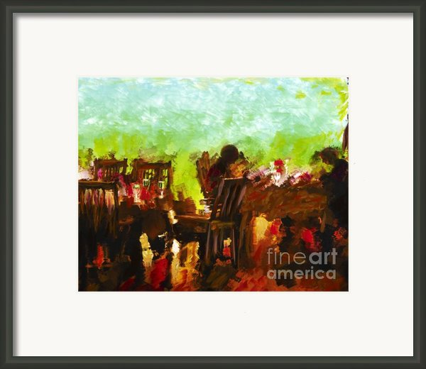 Sunset Terrace Intimacy Framed Print By Marilyn Sholin
