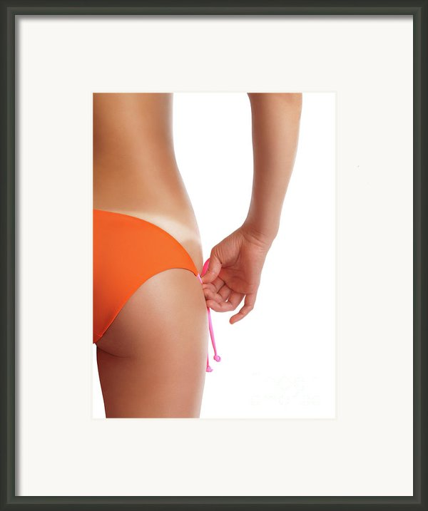 Suntanned Woman Showing Tan Lines Framed Print By Oleksiy Maksymenko