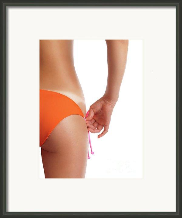 Suntanned Woman Showing Tan Lines Framed Print By Oleksiy Maksymenko