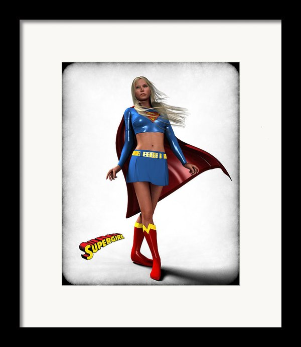 Super Girl Framed Print By Frederico Borges