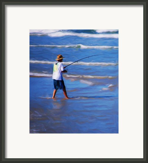 Surf Casting Framed Print By David Lane
