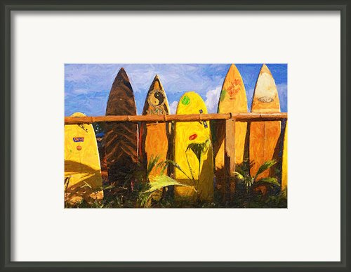 Surfboard Garden Framed Print By Ron Regalado