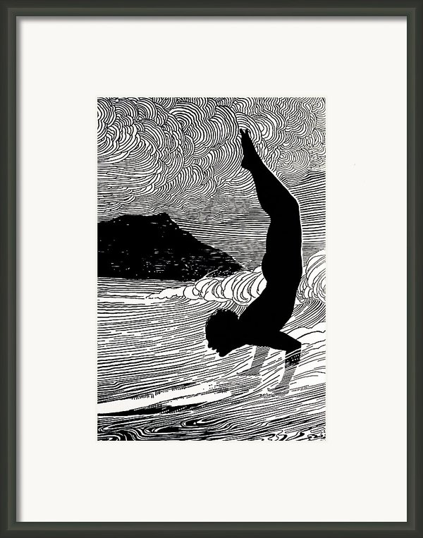 Surfer And Waikiki Framed Print By Hawaiian Legacy Archive - Printscapes