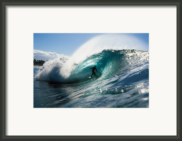 Surfer At Pipeline Framed Print By Vince Cavataio - Printscapes