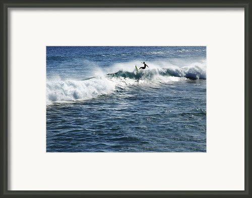 Surfer Riding A Wave Framed Print By Brandon Tabiolo - Printscapes