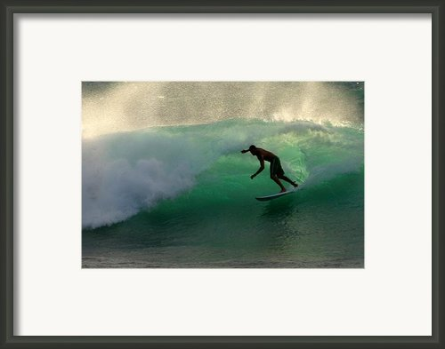 Surfer Surfing Blue Waves At Dumps Maui Hawaii Framed Print By Pierre Leclerc