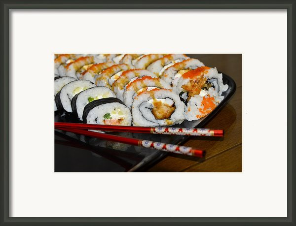 Sushi And Chopsticks Framed Print By Carolyn Marshall