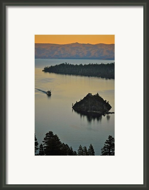 Tahoe Queen Steaming Into Emerald Bay Framed Print By Matt Macmillan