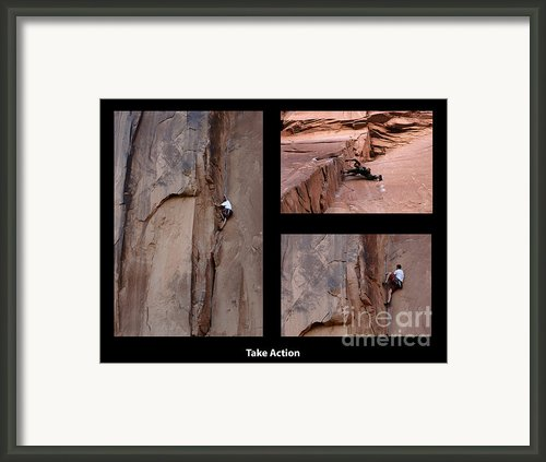 Take Action With Caption Framed Print By Bob Christopher