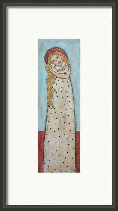 Tall Angel With Bird Framed Print By Rain Ririn