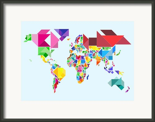 Tangram Abstract World Map Framed Print By Michael Tompsett