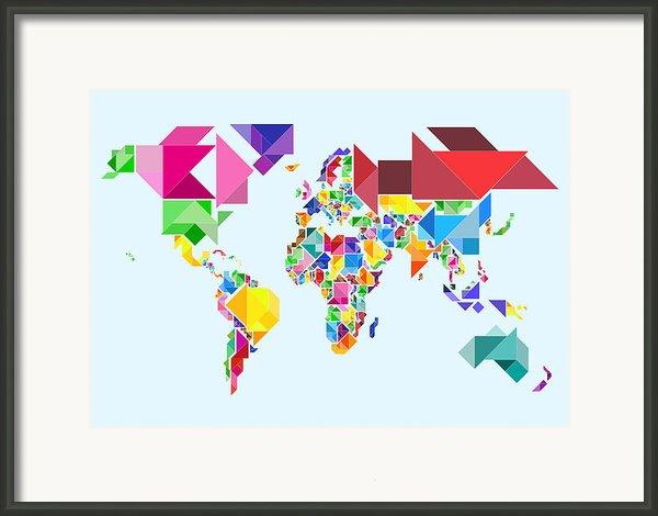 Tangram Abstract World Map Framed Print By Michael Tompsett