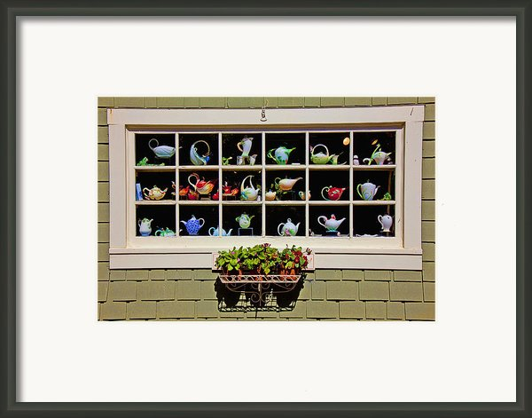 Tea Pots In Window Framed Print By Garry Gay