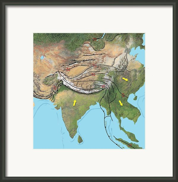 Tectonic Map Of Asia Framed Print By Gary Hincks