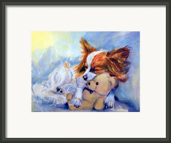 Teddy Hugs - Papillon Dog Framed Print By Lyn Cook