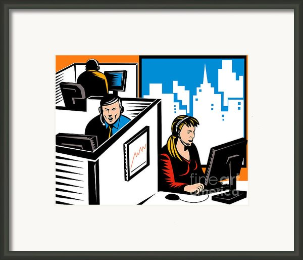 Telemarketer Office Worker Retro Framed Print By Aloysius Patrimonio