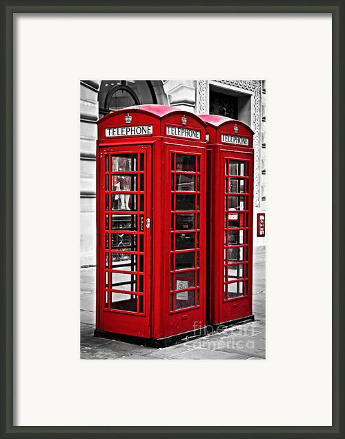 Telephone Boxes In London Framed Print By Elena Elisseeva