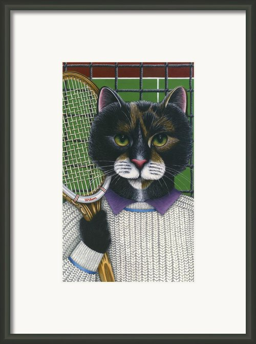 Tennis Cat Framed Print By Carol Wilson