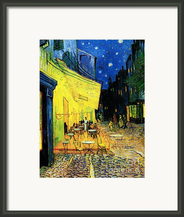 Terrace Of The Cafe On The Place Du Forum In Arles In The Evening Framed Print By Pg Reproductions