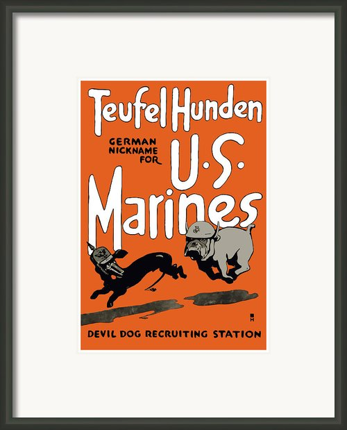 Teufel Hunden German Nickname For Us Marines Framed Print By War Is Hell Store