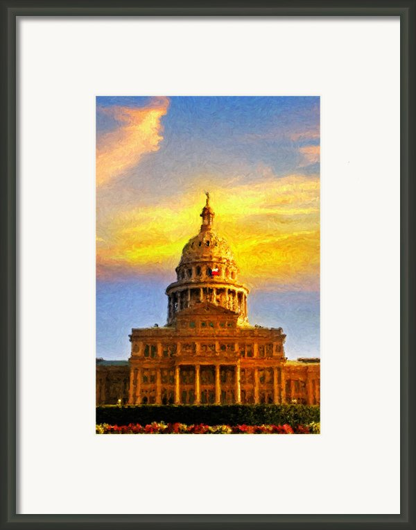 Texas Capitol At Sunset Austin Framed Print By Jeff Steed