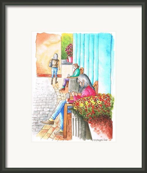 Texting-in-the-grove-los-angeles-ca Framed Print By Carlos G Groppa
