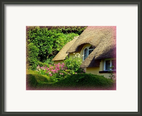 Thatched Cottage With Pink Flowers Framed Print By Carla Parris