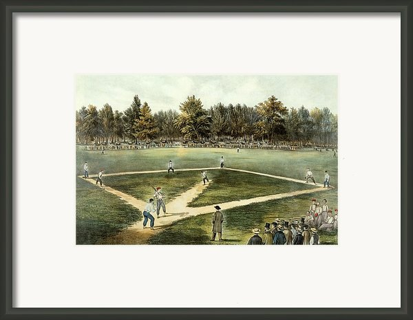 The American National Game Of Baseball Grand Match At Elysian Fields Framed Print By Currier And Ives